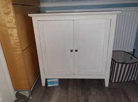 Cupboard, Storage cupboard, Cabinet White destressed wood style