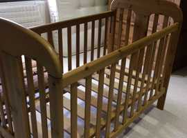 Solid antique pine cot
