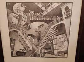 M C Escher Large Framed Prints x2 - Reptiles 1943, Relativity 1953