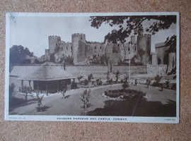 TUCK POSTCARD PENSARN GARDENS AND CASTLE CONWAY POSTED 1940 WITH 2D STAMP