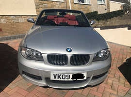 BMW 1 series, 2009 (09) Silver Convertible, Manual Petrol, 60,000 miles Stunning red leather inteior