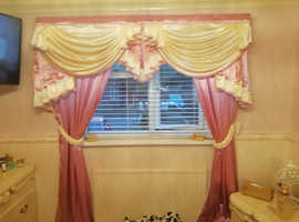 New heavy satin curtains swags tails