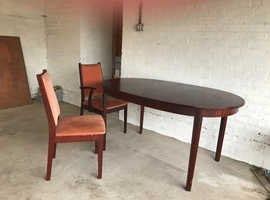 Free mahogany dining table and chairs