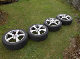 wolf race alloy wheels 205x45x17inch tyresx4 peugeot/citreon pcd 108
