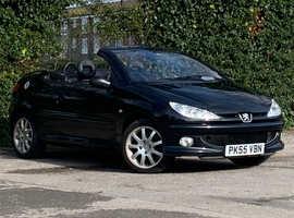 Peugeot 206 cc 1.6 ALLURE, 2005 (55) Black Coupe, Manual Petrol, 90,095 miles, Leather, Long MOT