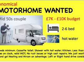 Motorhome Wanted for couple in mid 50s