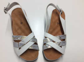 SLING BACK WHITE AND SILVER LADIES SHOES