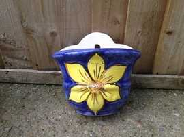 Pretty yellow and blue wall planter