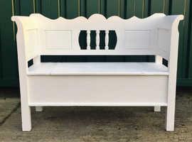 New Hand Painted, Handmade, paneled Pine Monks bench with hinged storage