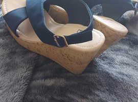 Ladies navy wedge sandals
