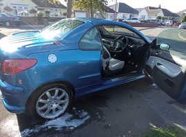 Peugeot 206, 2005 (05) Blue Coupe, Convertable, Manual Petrol.