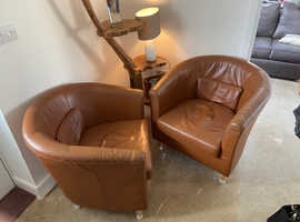 3 x super soft Ikea tan leather quality tub chairs - bargain