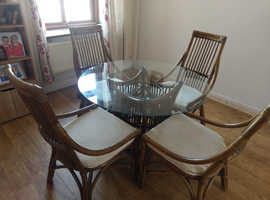 Bamboo Vintage Glass Table and Chairs
