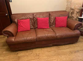 Two large leather sofas