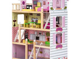 COSTWAY Wooden Doll's House with Accessories (TY325134)
