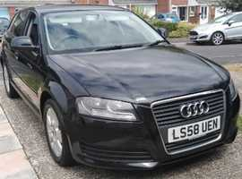 Audi A3, 2008 (58) Black Hatchback, Manual Diesel, 162,000 miles