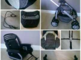silver cross freeway linear pram and a car seat