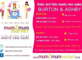 Mum2mum market Burton-Upon-Trent 3rd November 2019 2.30pm - 4.30pm
