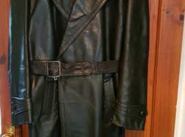 Men's Vintage WW2 post 1940's Horshide Leather Officer's Trench Coat 44R