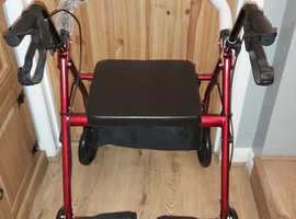 "Drive Red Folding Rollator with Seat 6"" Wheels Walker Walking Frame Mobilit"