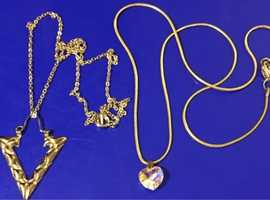 Ladies Jewellery Rolled Gold White Cubic Zirconia Heart Necklace & Rolled Gold Arrow Head Necklace.