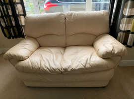 Twin seater faux leather cream sofa
