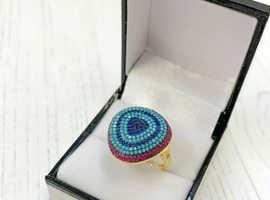 Boho Betty Cabello Gold Blue Beaded Ring