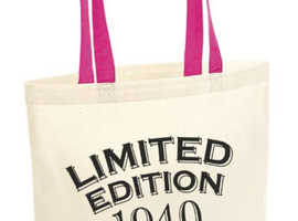 80th Party Cotton Tote Bag Birthday Presents Gifts Year 1940 Shopper Shopping