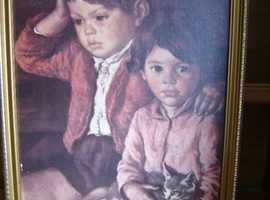 Large Framed painting of a Boy, Girl & Cat