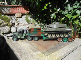 One off model of an R / C army tank transporter with 6 wheel drive tractor unit, trailer & tank.