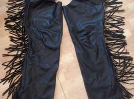 Ladies black leather chaps