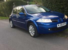Renault Megane, 2008 (08) Blue Hatchback, Automatic Petrol, 58,000 miles
