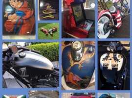 Motorcycle airbrush art abs design