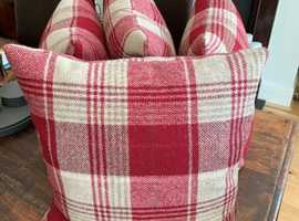 Cranbourne Wool Check Cushions -  Cranberry colour