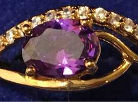 Ladies Jewellery 14ct Rolled Gold Purple Amethyst & Cubic Zirconia Cluster Ring 2.00ct.