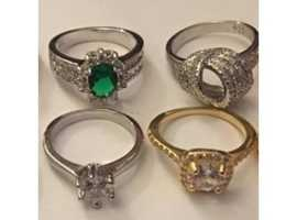 Ladies Jewellery 4xSilver Ruby & Amethyst & Emerald Cubic Zirconia Rings 925.