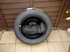 New unused spare wheel complete with jack and wheelbrace steel full size.
