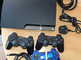 SONY PS 3 250GB WITH 22 GAMES, 3 WIRELESS CONTROLLERS & ALL CABLES