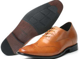 Brown natural leather Elevator Shoes for men, Height Increase for Wedding, Business, Date Size UK 5.5 - 10