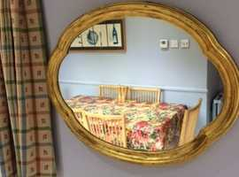 GOLD PAINTED FRAMED WALL MIRROR.