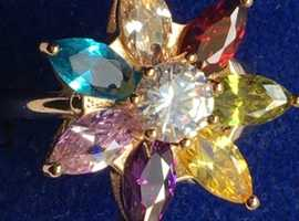Ladies Jewellery 18ct Rolled Gold Multicolor Gem Set Flower Cluster Ring 2.3ct
