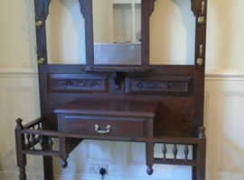 Antique Oak Hall Stand With Mirror