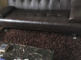 Brown leather click clack sofa bed (double)