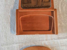 Unique, Chinese Portable Wooden Comb & Hand Mirror in Engraved Wooden Case