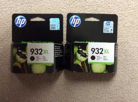 2 Genuine HP 932XL Black Ink Cartridges