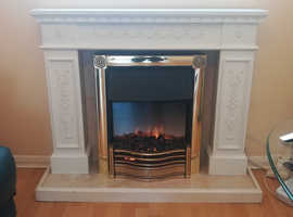 Dimplex Brass Electric Fire plus Marble Fireplace Effect Mantel