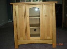 Light oak display and dvd storage unit