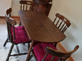 Drop leaf table + four chairs