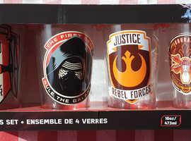 4x Star wars glass set (starwars memorabilia kitchen homewear)
