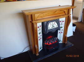 Moving flame coal effect Electric Fire with Mantle and surround